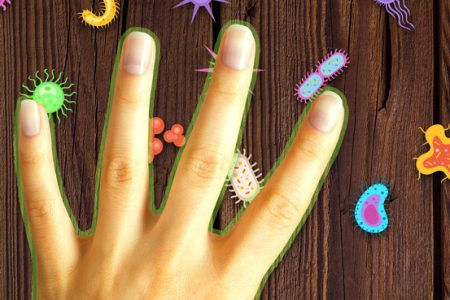 Hand protected with clean:touch touching a table with germs